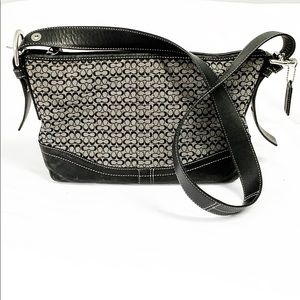Coach signature shoulder bag with leather trim